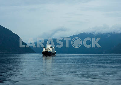 Ship in the fjord