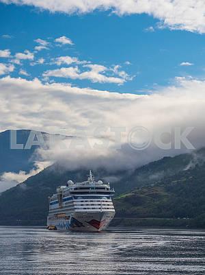 Ship in Hardangerfjord