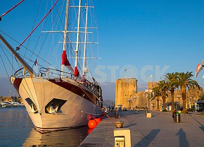 Yachts in Trogir in the morning
