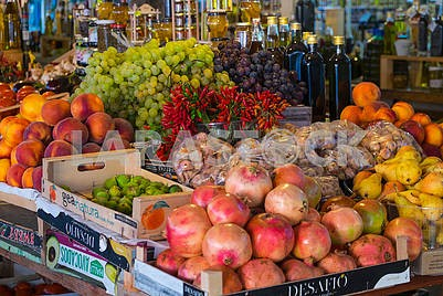 Vegetables and fruits in the market
