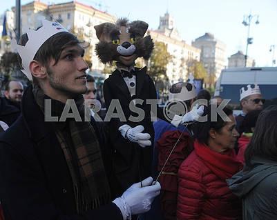 Actors with dolls