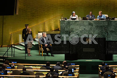 Peter Porshenko on the podium of the United Nations