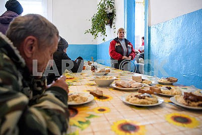 Residents evacuated villages in the dining room