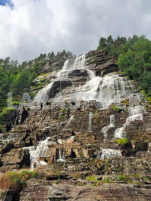 Step waterfall Tvindefossen
