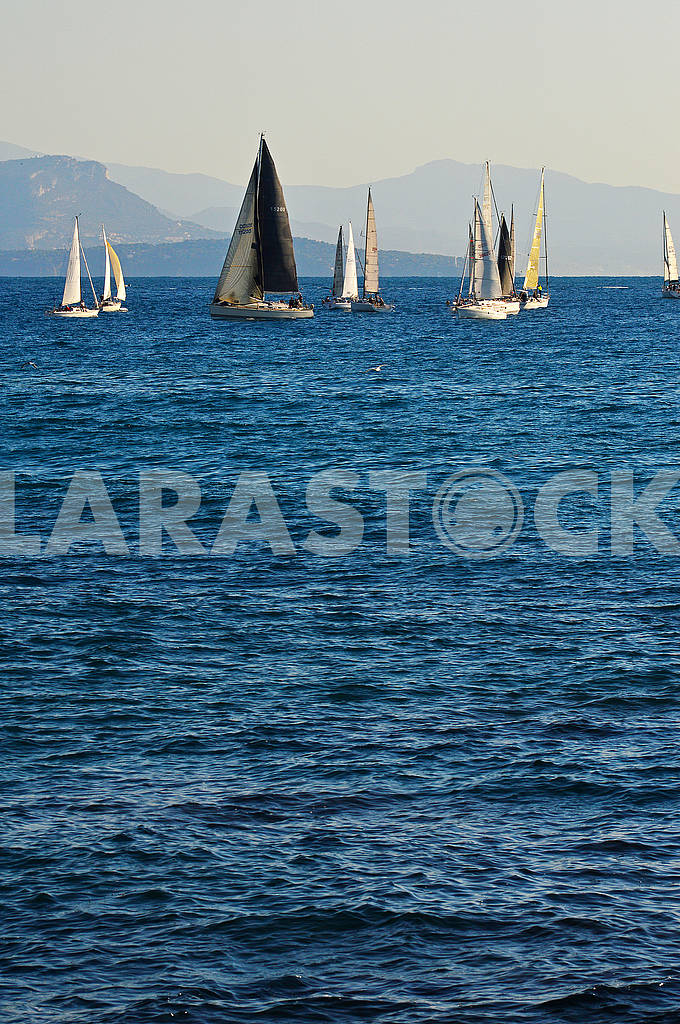 A group of sailing boats floating on the sea against the background — Image 75053