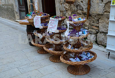 Baskets with souvenir soap