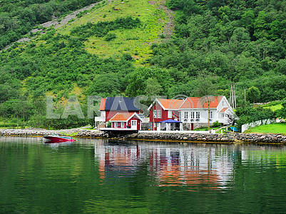 Wooden houses and boat