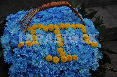 Flowers in the shape of the Crimean Tatar flag