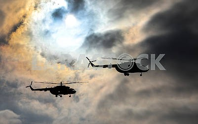 Helicopters in the sky