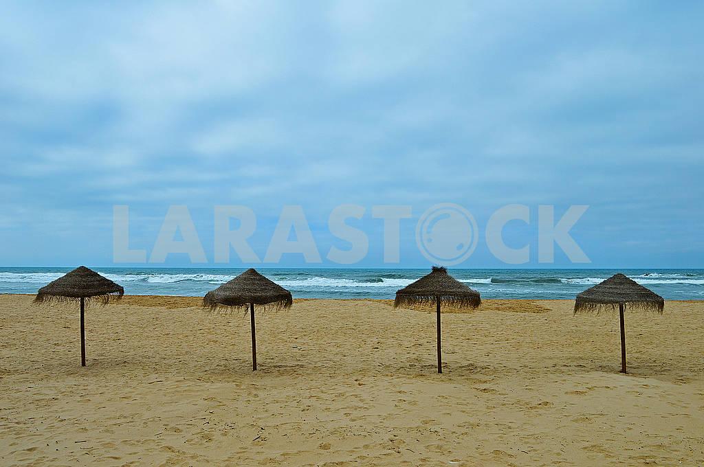 Exotic umbrellas on beach — Image 76555