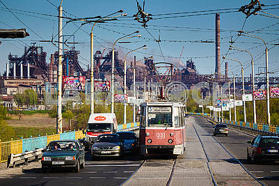 Tram on the streets of Mariupol.