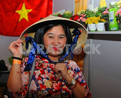 Woman in vietnamese hat