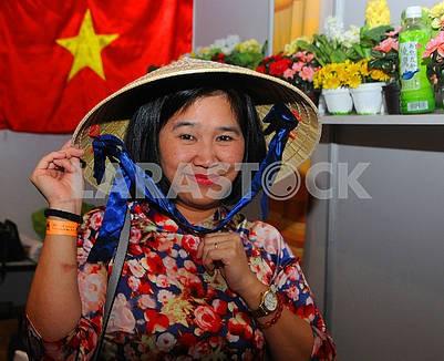 Woman in vietnamese hat