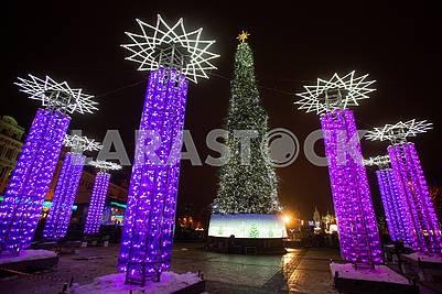 The main Christmas tree of Ukraine, illumination
