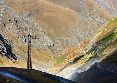 Power pole in the mountains