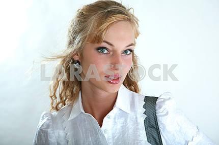 Portrait of a fresh and beautiful fashion model. Blonde.
