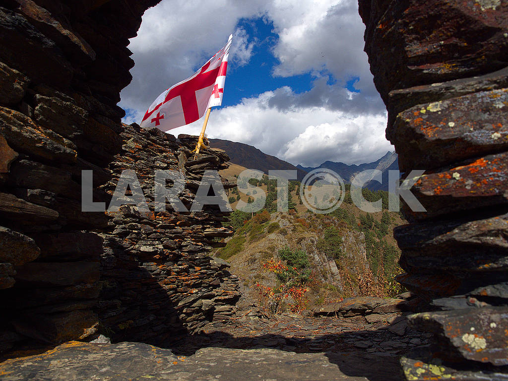 Flag of Georgia in Keselo Fortress — Image 77575