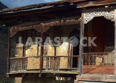 Veranda of the old house in the village of Shenako