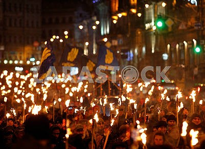 Torchlight procession on Khreshchatyk
