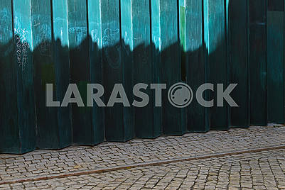 Green metallic fence