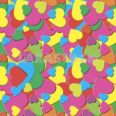 Abstract seamless background with bright vivid hearts