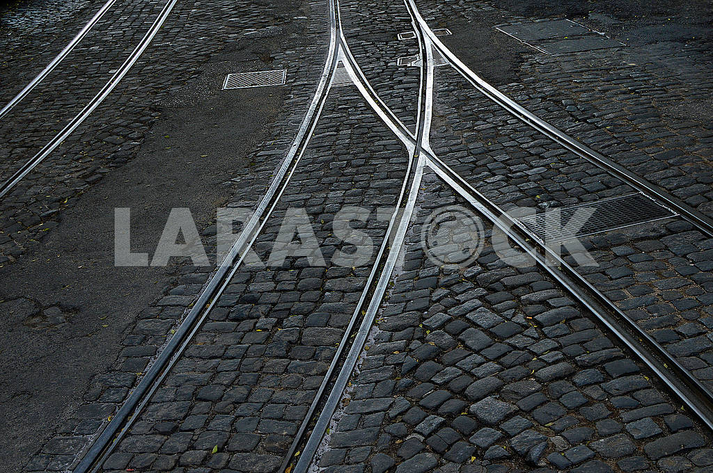 Tram rails and hatches on a cobbled road — Image 78280