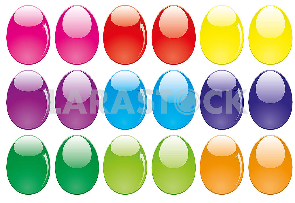 Set of shiny glossy colored Easter eggs isolated on white — Image 78732