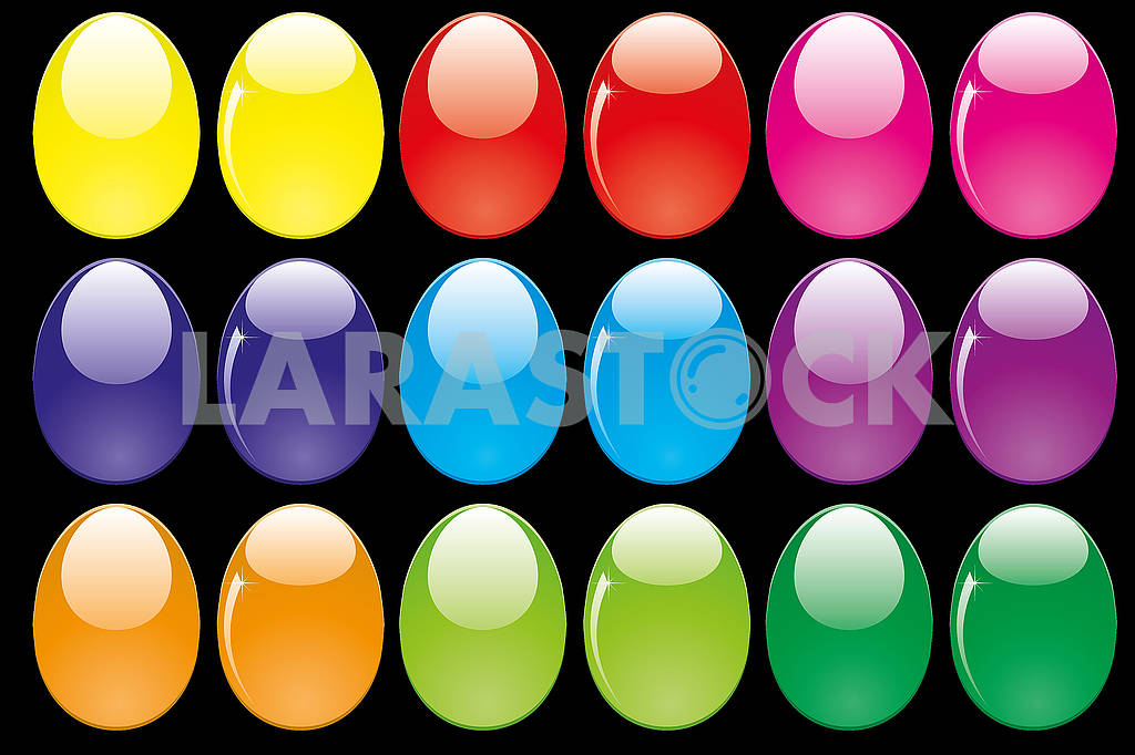 Set of shiny glossy colored Easter eggs isolated on black — Image 78735