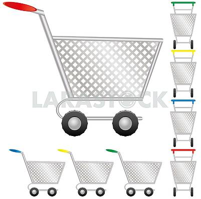 Set of shopping cart for online shop