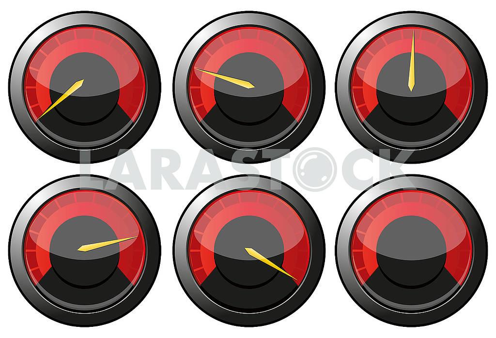 Set of red speedometers — Image 79253