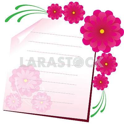 Background with sheet of paper and flowers, part 1
