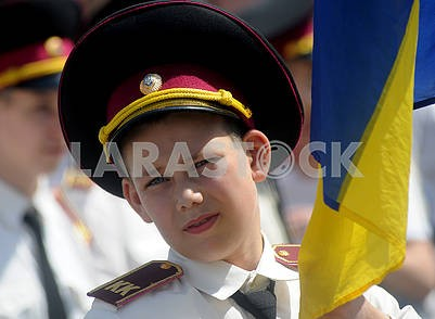 Cadets hold flags of Ukraine