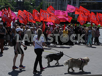 Workers march