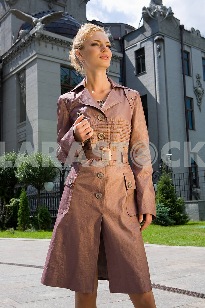 Beautiful Young Woman in brown raincoat. Against the backdrop of — Image 8045