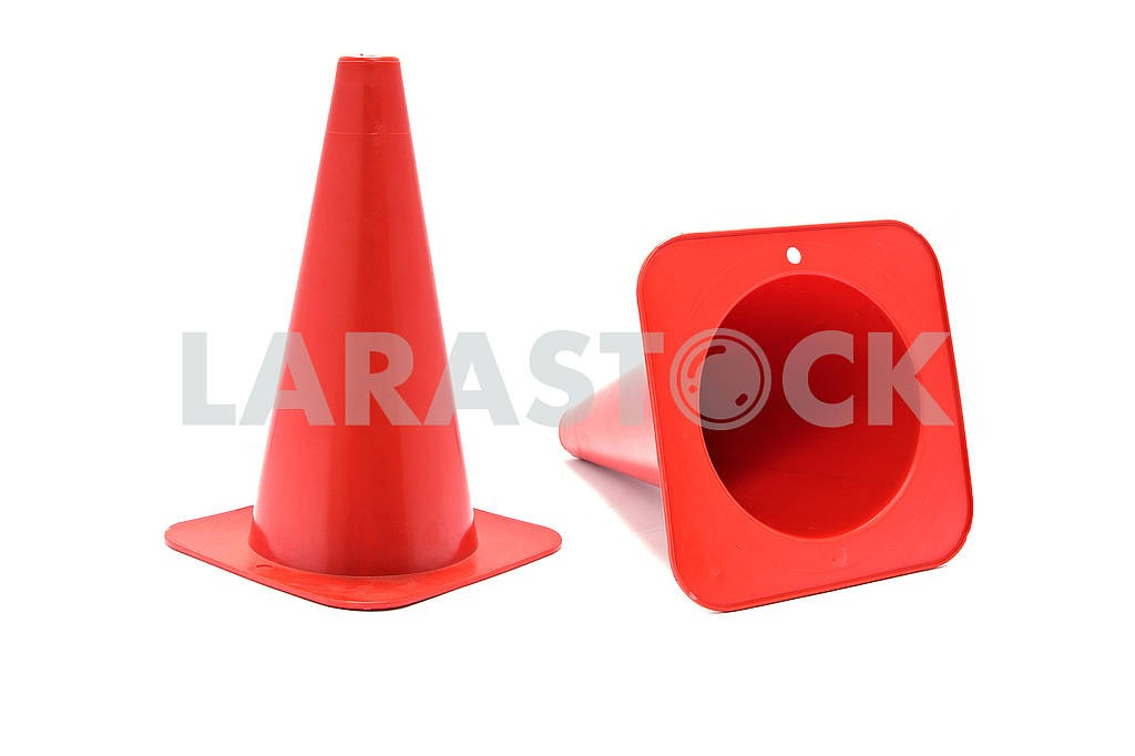 Road cone signal. Red plastic cone with reflective stripes isolated on white background. — Image 80616