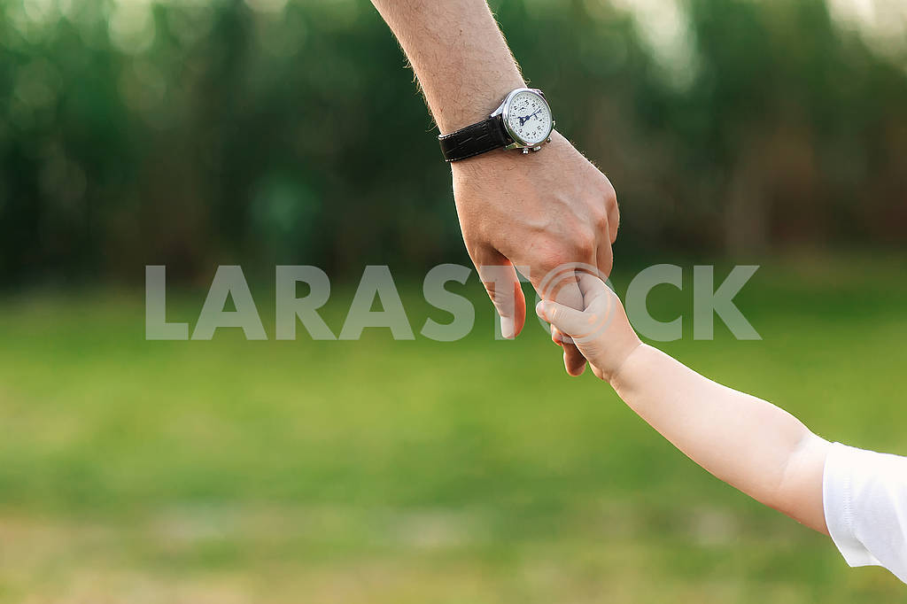 The dad holds the child by the hand. a walk in the nature — Image 80627