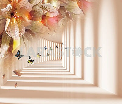 3d background, corridor, shadow and light, butterflies, flowers