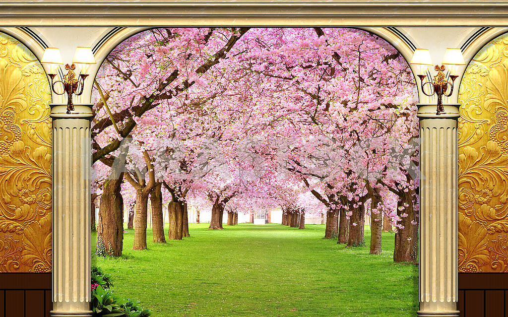 Golden and pink 3d background, golden columns, spring, alley with spring flowering trees and grass — Image 81528