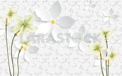 3d illustration, white background with ornament and flowers