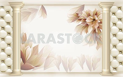 3d illustration - light background with columns and flowers