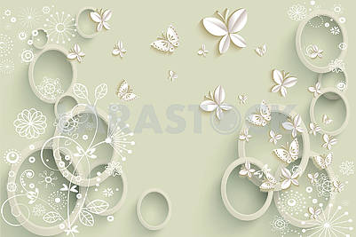 Green 3d background with rings and white paper butterflies