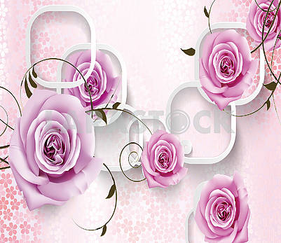 3D illustration, light background with large buds of purple roses