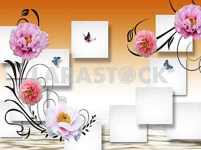 3D illustration, gradient background, white squares, peonies, butterflies