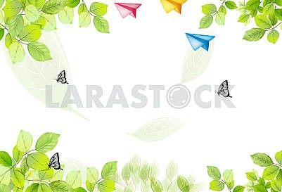 Light background, leaves, butterflies, multi-colored paper airplanes