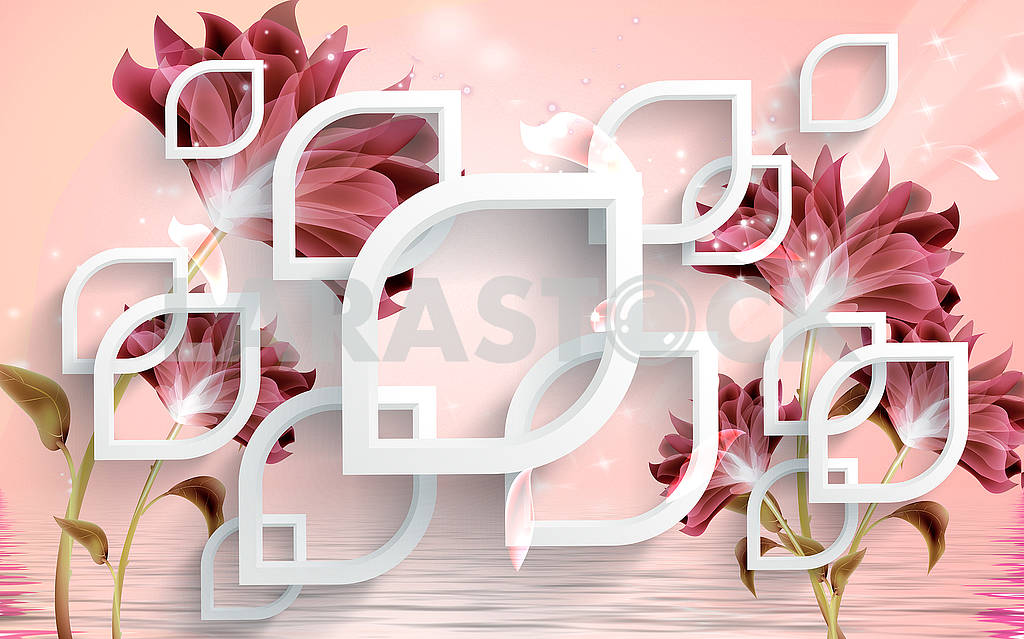 3D illustration, pink background with white elements and dark flowers — Image 81626