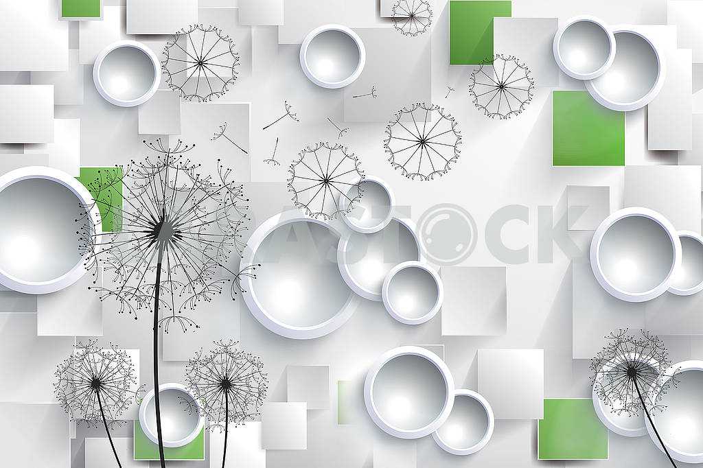 3D illustration with white rings and black dandelions — Image 81673
