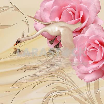 Бежевый сплошной фон с лебедем и двумя большими розовыми розами