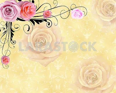 3d illustration, vintage beige ornamental background with roses
