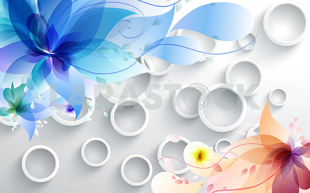 3d illustration, light background, white rings, colorful fabulous flowers — Image 81764
