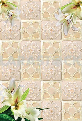 Beige carved tiles, white large lilies in the three corners of the image